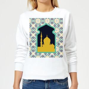 Eid Mubarak Earth Tone Print And Window Frame Women's Sweatshirt - White
