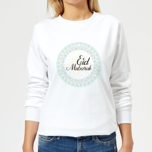Eid Mubarak Light Tone Mandala Women's Sweatshirt - White