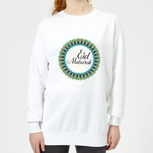 Eid Mubarak Peacock Coloured Wreath Women's Sweatshirt - White