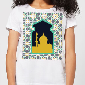 Eid Mubarak Earth Tone Print And Window Frame Women's T-Shirt - White