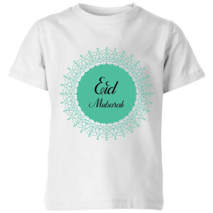 Eid Mubarak Earth Tone Wreath Kids' T-Shirt - White