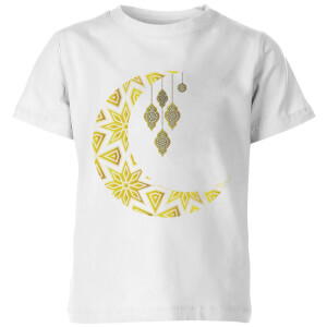 Eid Mubarak Pattern Moon Kids' T-Shirt - White