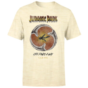 Jurassic Park Life Finds A Way Tour Unisex T-Shirt - White Vintage Wash