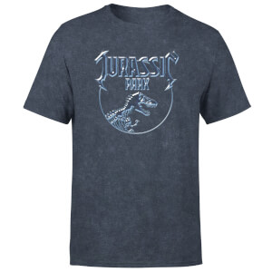 Jurassic Park Logo Metal Unisex T-Shirt - Navy Acid Wash