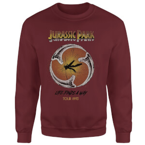 Sudadera Jurassic Park Life Finds A Way Tour - Hombre - Granate