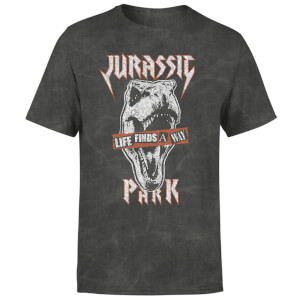 Jurassic Park Rex Punk Unisex T-Shirt - Black Acid Wash