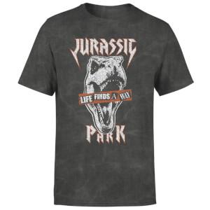 T-Shirt Jurassic Park Rex Punk - Nero Acid Wash - Unisex