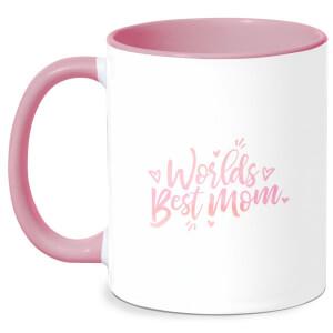 Worlds Best Mom Mug - White/Pink