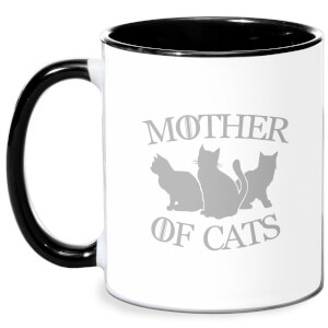 Mother Of Cats Black Tee Mug - White/Black