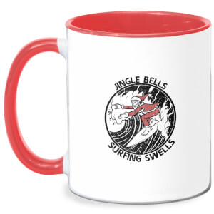 Jungle Bells, Surfing Swells Mug - White/Red