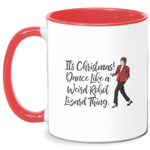 Its Christmas, Dance Like A Weird Robot Mug - White/Red
