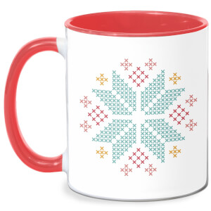 Cross Stitch Festive Snowflake Mug - White/Red