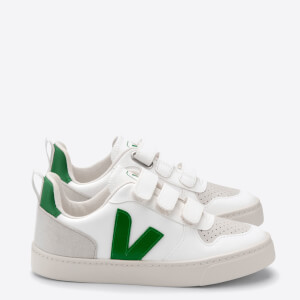 Veja Toddlers' V-10 Velcro Trainers - White/Emeraude