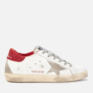Golden Goose Deluxe Brand Women's Superstar Leather Trainers - White/Ice/Red