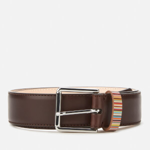 PS Paul Smith Men's Signature Stripe Keeper Leather Belt - Brown