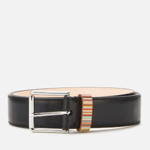 PS Paul Smith Men's Signature Stripe Keeper Leather Belt - Black
