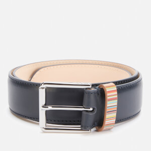 PS Paul Smith Men's Signature Stripe Keeper Leather Belt - Blue
