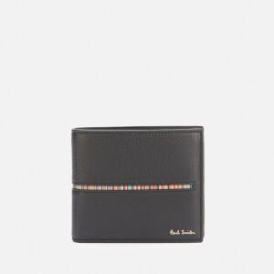 PS Paul Smith Men's Signature Stripe Insert Leather Billfold Wallet - Black