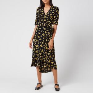 Ganni Women's Printed Crepe Dress - Black