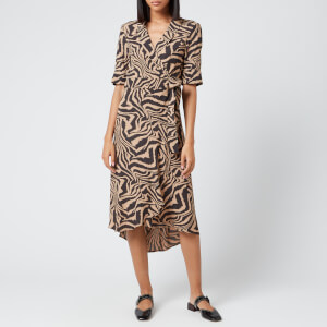 Ganni Women's Printed Crepe Wrap Dress - Tannin