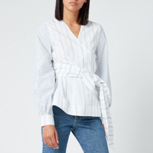 Ganni Women's Shirting Cotton Wrap Shirt - Block Colour