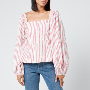 Ganni Women's Stripe Cotton Shirt - Lollipop