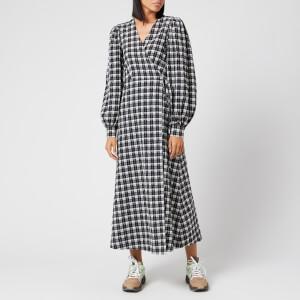Ganni Women's Seersucker Check Long Sleeve Maxi Dress - Black
