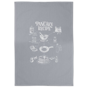 Pancake Recipe Cotton Grey Tea Towel