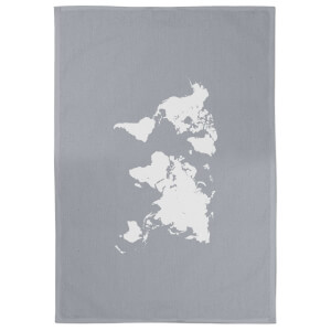 World Map Cotton Grey Tea Towel