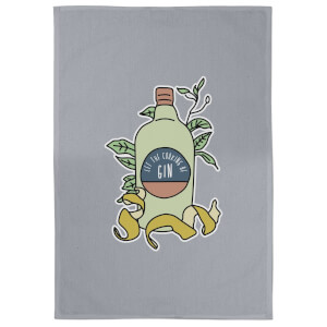 Let The Cooking Be Gin Cotton Grey Tea Towel