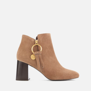 See By Chloé Women's Suede Heeled Ankle Boots - Beige