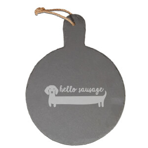 Hello Sausage Engraved Slate Cheese Board