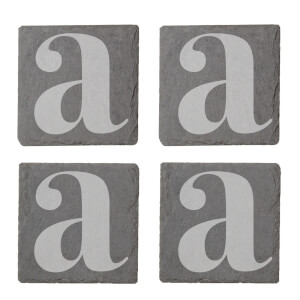 Lowercase Letter Engraved Slate Coaster Set from I Want One Of Those