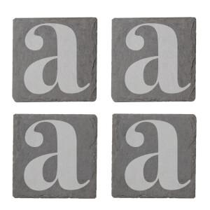 Lowercase Letter Engraved Slate Coaster Set
