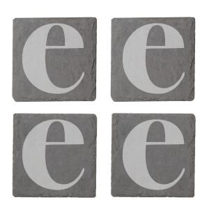 Lowercase E Engraved Slate Coaster Set