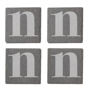 Lowercase N Engraved Slate Coaster Set