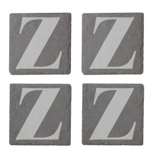 Lowercase Z Engraved Slate Coaster Set