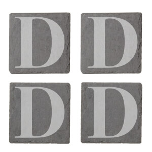 Uppercase D Engraved Slate Coaster Set from I Want One Of Those