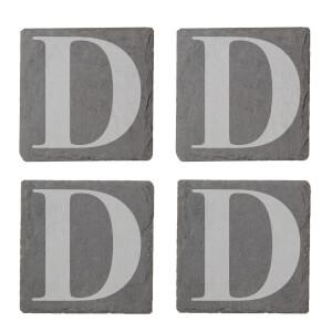 Uppercase D Engraved Slate Coaster Set