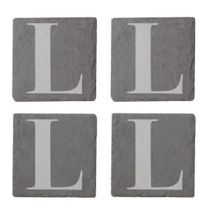 Uppercase L Engraved Slate Coaster Set