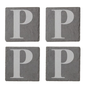 Uppercase P Engraved Slate Coaster Set