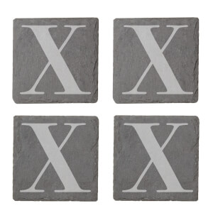 Uppercase X Engraved Slate Coaster Set