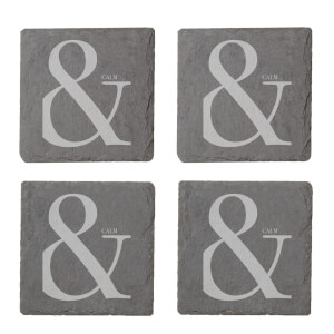 & Calm Engraved Slate Coaster Set