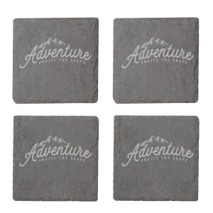 Adventure Awaits The Brave Engraved Slate Coaster Set