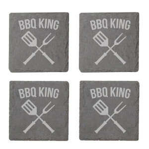 Bbq King Engraved Slate Coaster Set