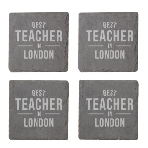 Best Teacher In London Engraved Slate Coaster Set