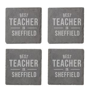 Best Teacher In Sheffield Engraved Slate Coaster Set