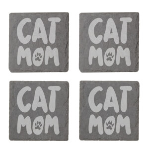 Cat Mom Engraved Slate Coaster Set