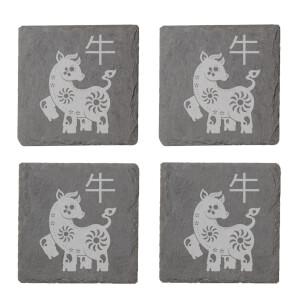 Chinese Zodiac Ox Engraved Slate Coaster Set