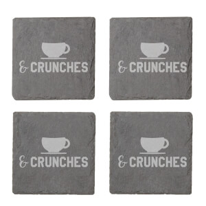 Coffee & Crunches Engraved Slate Coaster Set